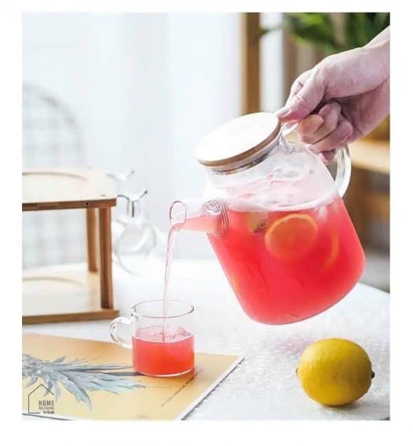 Bình nước thủy tinh, bình trà nắp gỗ chịu nhiệt