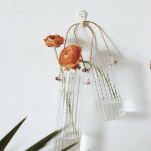 Bình cắm hoa, lọ hoa thủy tinh có quai treo 6