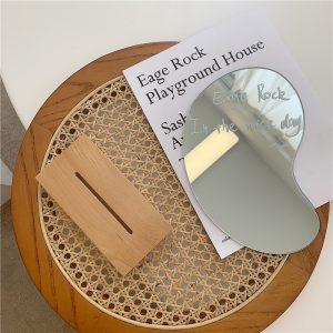Gương trang điểm đế gỗ phong cách Hàn Quốc - Hình giọt nước