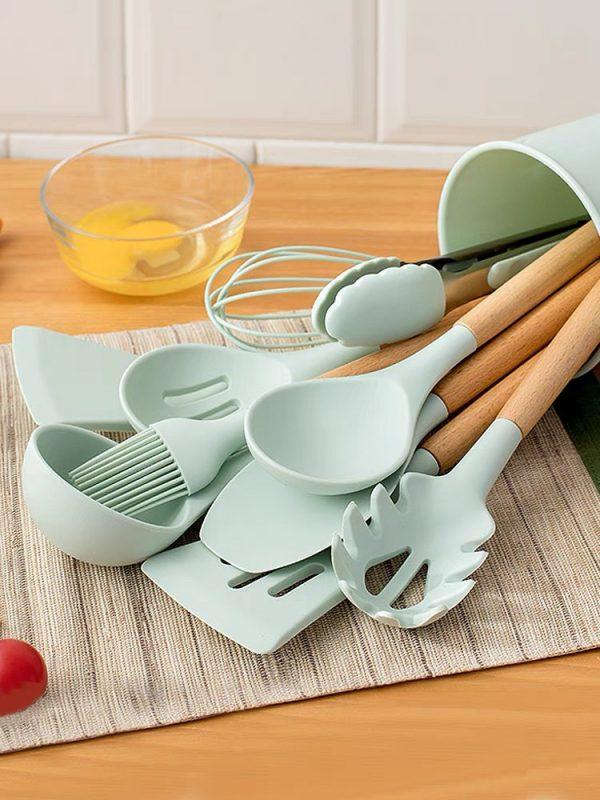 Bộ 12 Dụng cụ nấu ăn Silicon chịu nhiệt an toàn - Đen