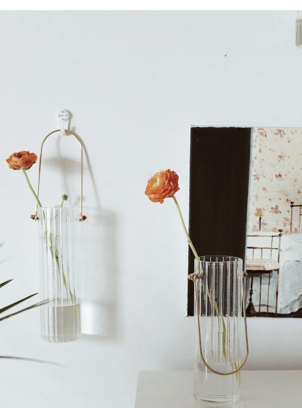 Bình cắm hoa, lọ hoa thủy tinh có quai treo 7