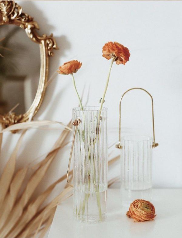 Bình cắm hoa, lọ hoa thủy tinh có quai treo 4