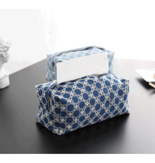 Hộp đựng giấy ăn, hộp đựng khăn ăn bằng vải cotton - tone xanh