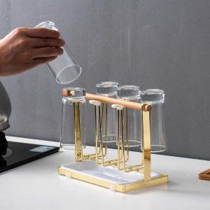 Giá úp cốc, ly, khay để cốc có khay hứng nước hai trong một phong cách Bắc Âu