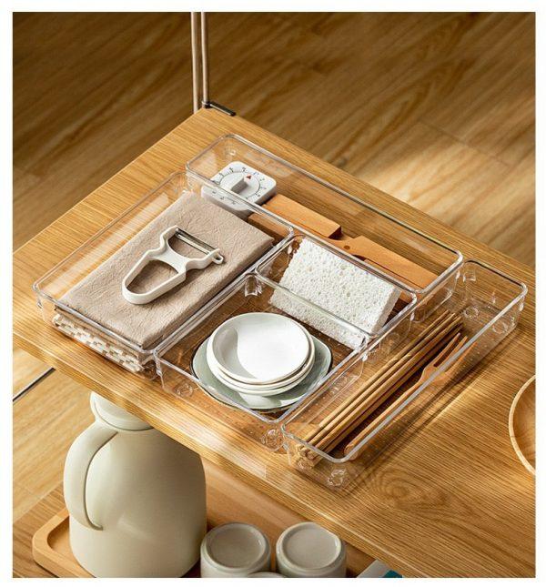Bộ Khay Chia Ngăn Kéo Tủ Nhiều Size, Khay đựng đồ dùng chia ngăn trong suốt tiện dụng