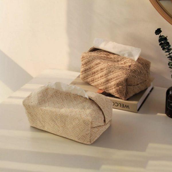 Hộp đựng giấy ăn, hộp khăn giấy bằng vải đay 1 - cutamdecor.com