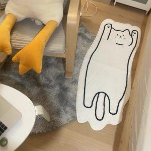 Thảm phòng ngủ, phòng khách cỡ lớn, thảm trang trí cao cấp hình dáng con mèo 2 - cutamdecor.com