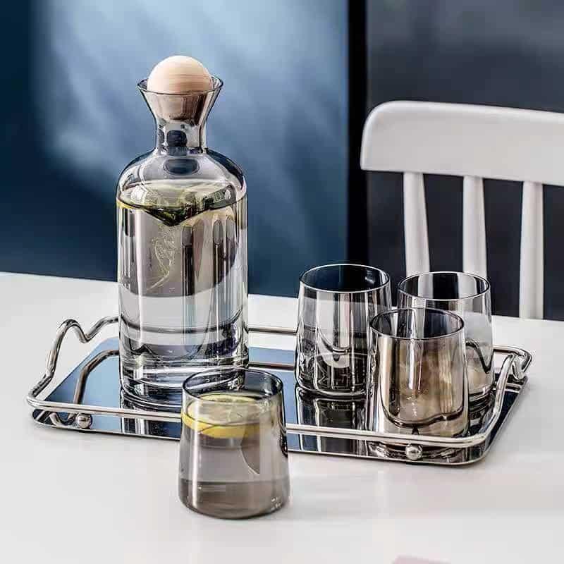Bộ bình nước thủy tinh màu hổ phách, bình whiskey màu amber sang trọng, đồ dùng thủy tinh trong nhà - cutam.homedecor