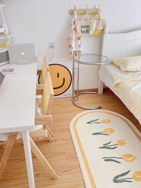 Thảm trang trí phòng ngủ, phòng khách, thảm lau chân cỡ lớn cao cấp họa tiết hoa tulip -