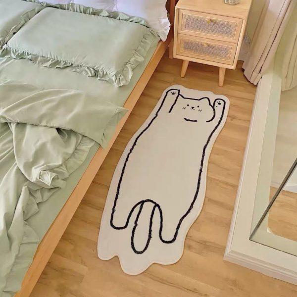 Thảm phòng ngủ, phòng khách cỡ lớn, thảm trang trí cao cấp hình dáng con mèo -
