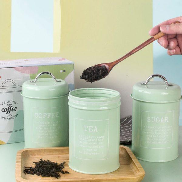 Bộ 3 hũ đựng đồ khô, lọ đựng đường, cà phê và trà cho nhà bếp phong cách Bắc u - cutam.homedecor 9