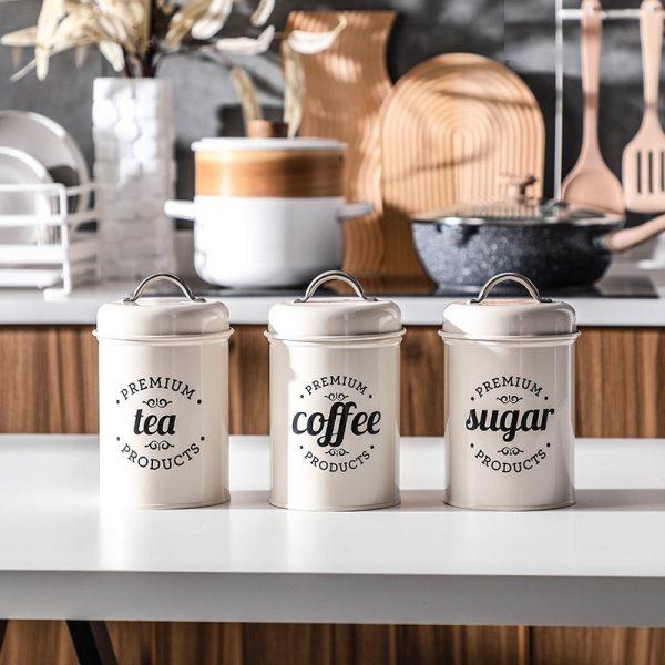 Bộ 3 hũ đựng đồ khô, lọ đựng đường, cà phê và trà cho nhà bếp phong cách Bắc u - cutam.homedecor 8