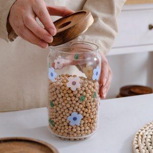 Hũ thủy tinh, lọ thủy tinh đựng hạt nắp gỗ họa tiết hoa lá - cutam.homedecor