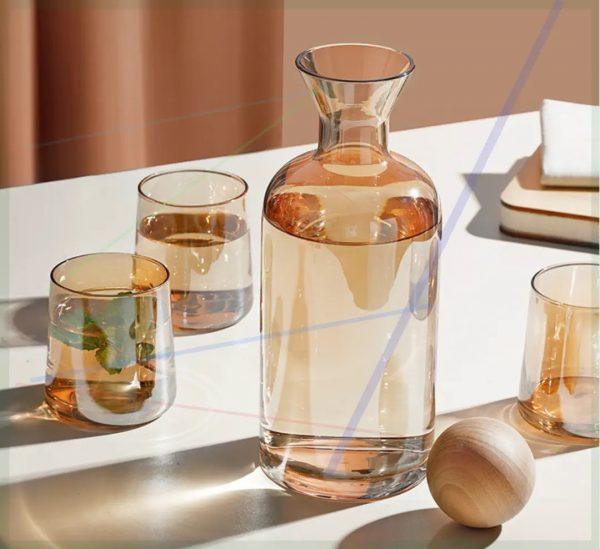 Bộ bình nước thủy tinh màu hổ phách, bình whiskey màu amber sang trọng - cutam.homedecor
