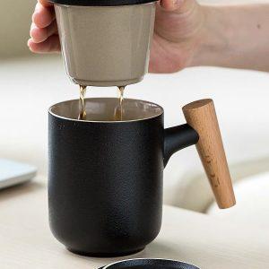 Cốc uống trà, cốc pha trà có lõi lọc bằng sứ tiện dụng - cutam.homedecor