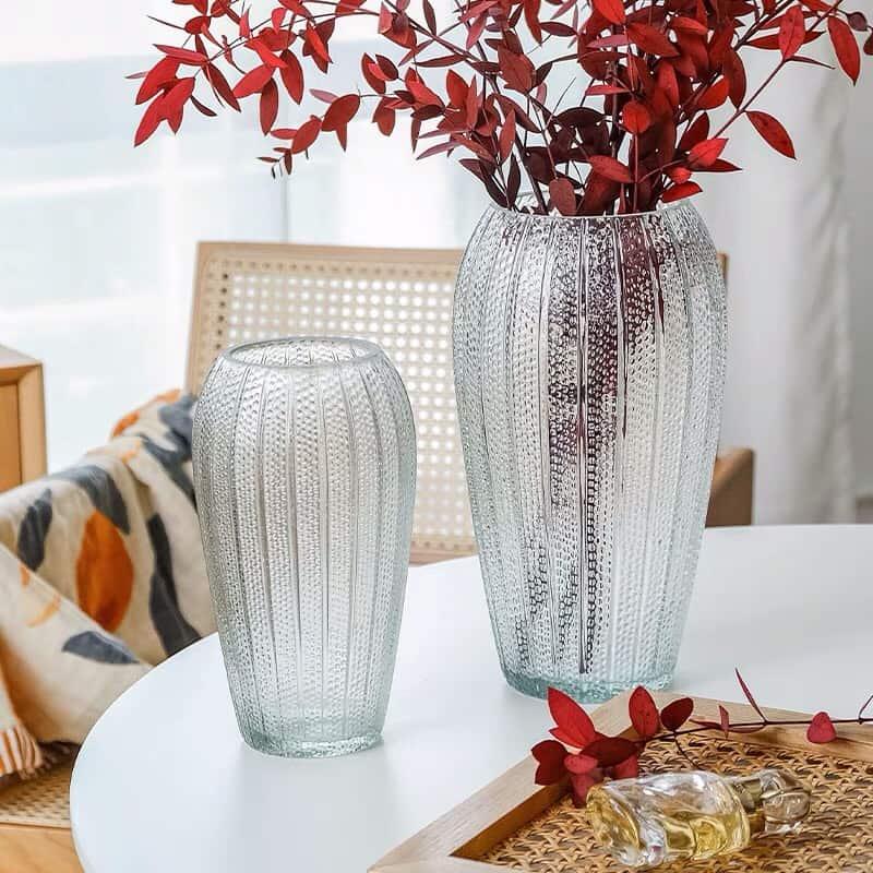 Lọ hoa thủy tinh phong cách cổ điển, bình hoa phong cách retro, đồ dùng thủy tinh trong nhà - cutam.homedecor