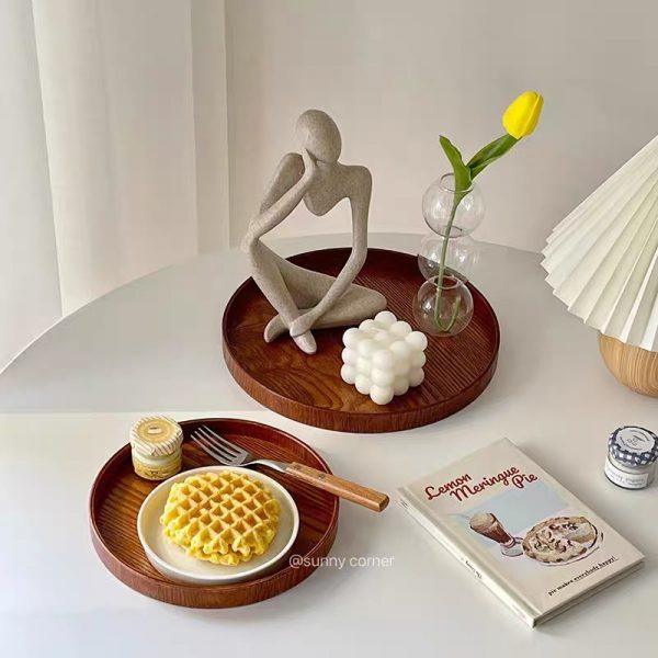 Khay gỗ tròn để đổ ăn, trà bánh, khay gỗ trang trí decor phong cách Nhật Bản - cutam.homedecor