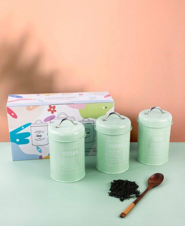 Bộ 3 hũ đựng đồ khô, lọ đựng đường, cà phê và trà cho nhà bếp phong cách Bắc u - cutam.homedecor 14