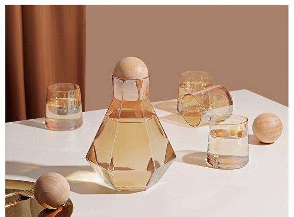 Bộ bình nước thủy tinh, bình whiskey sang trọng kèm 6 cốc màu amber phong cách châu Âu - cutam.homedecor