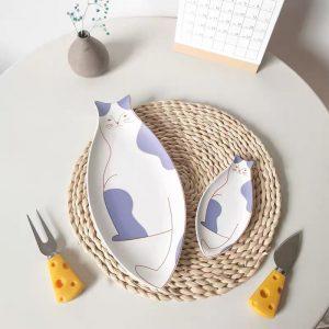 Đĩa sứ tráng men họa tiết mèo con độc đáo, đĩa đựng đồ ăn phong cách Hàn Quốc - cutam.homedecor - Mèo to