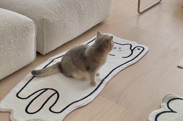 Thảm phòng ngủ, phòng khách cỡ lớn, thảm trang trí cao cấp hình dáng con mèo 9 - cutamdecor.com