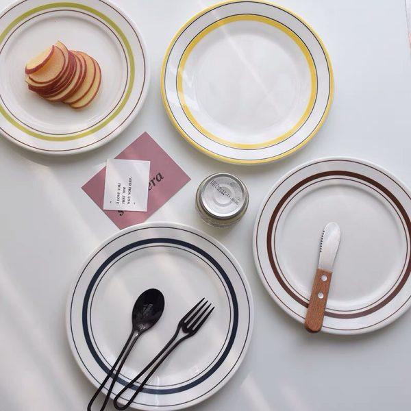 Đĩa sứ tráng men, đĩa gốm sứ phong cách vintage
