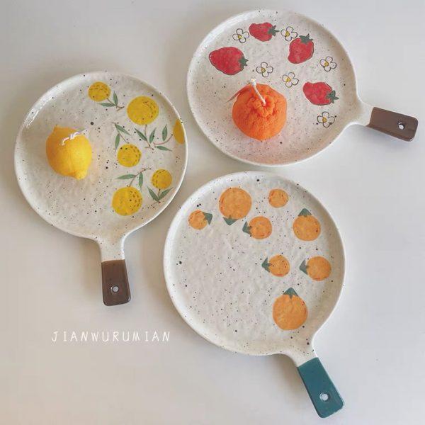 Đĩa sứ hình chảo họa tiết mùa Hè