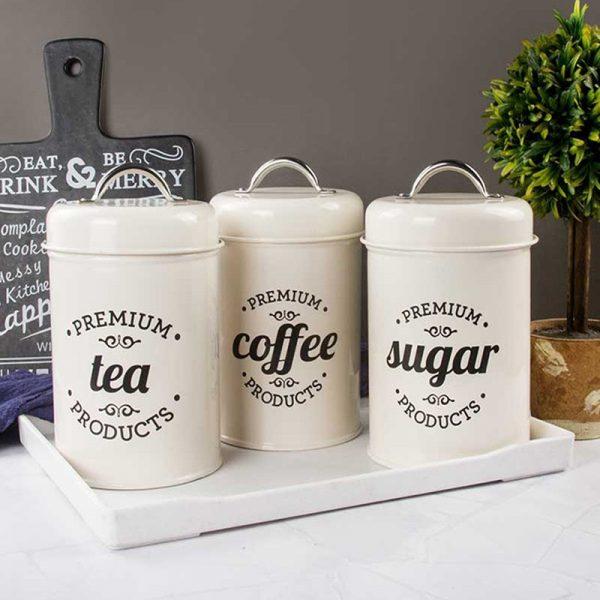 Bộ 3 hũ đựng đồ khô, lọ đựng đường, cà phê và trà cho nhà bếp phong cách Bắc u - cutam.homedecor 3