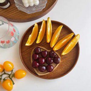 Khay gỗ tròn để đổ ăn, trà bánh, khay gỗ trang trí decor phong cách Nhật Bản - cutam.homedecor - Đường kính 30cm