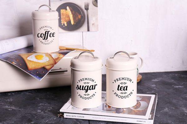 Bộ 3 hũ đựng đồ khô, lọ đựng đường, cà phê và trà cho nhà bếp phong cách Bắc u - cutam.homedecor 6