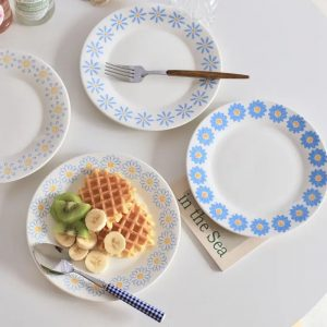 Đĩa sứ tròn đựng đồ ăn, đĩa hoa quả nhà bếp hoa nhí phong cách vintage - cutam.homedecor