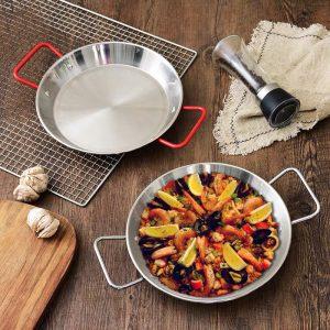 Đĩa chảo nhôm quai đỏ, chảo ăn hải sản